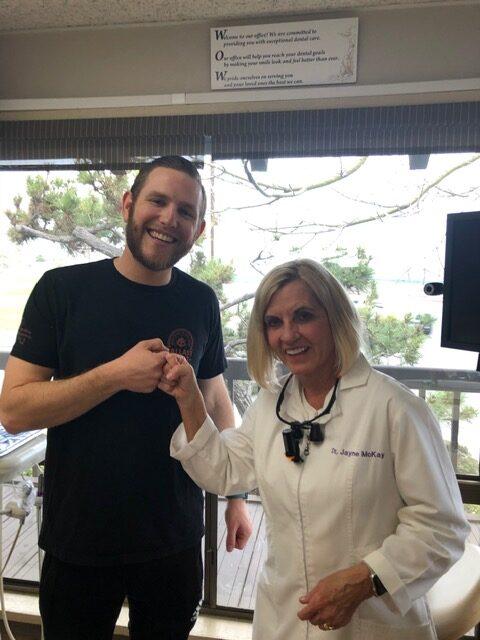 Dr. Jayne McKay with patient